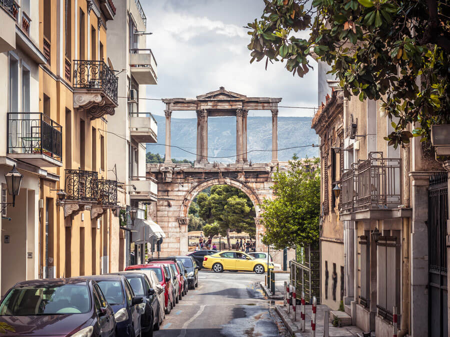 The Arch of Hadrian in Athens in October