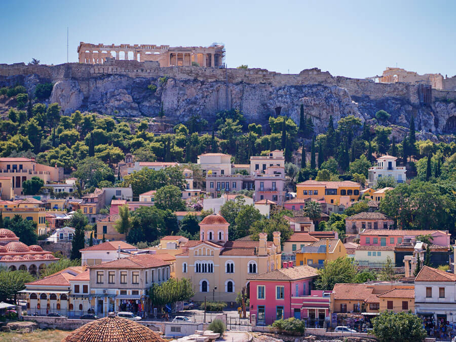 Plaka with Acropolis on the background